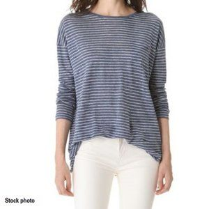 VINCE Striped Boatneck Long-sleeve Linen Tee Small